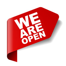 Red Vector Banner We Are Open