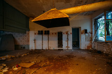 Abandoned And Ruined Kitchen Of Closed Factory Canteen Or Restaurant