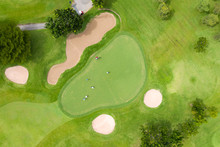 Aerial View Of Players On A Gr...