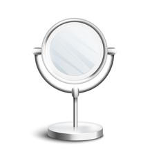 Silver Table Mirror With Rotat...