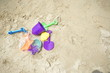 bucket and spade toy on the beach
