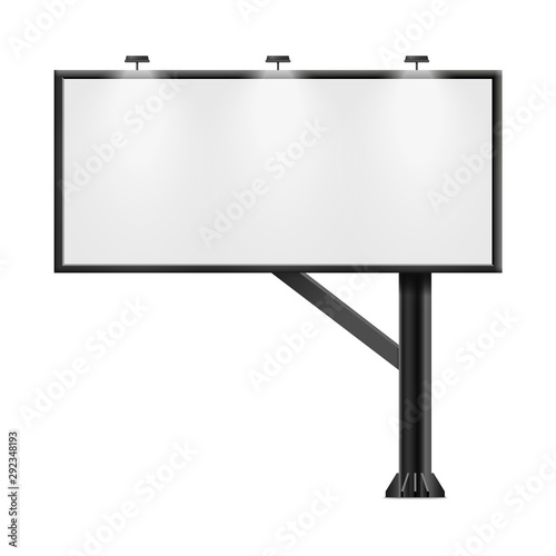Cuadros en Lienzo  Black billboard with blank ad poster space isolated on white background