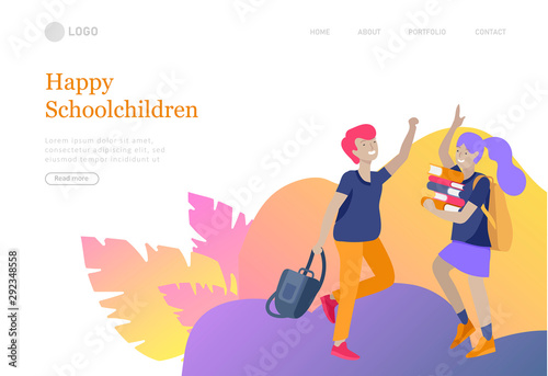 Fototapeta Landing page template with Happy school children joyfully jumping and laughing. Concept of happiness, gladness and fun. Vector illustration for banner obraz na płótnie