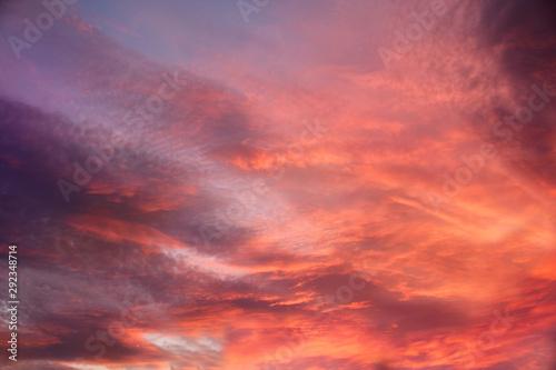 Foto auf Leinwand Koralle disturbing red sky during sunset