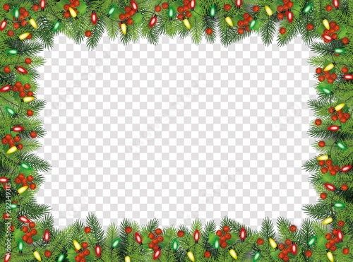 Canvas-taulu Christmas fir-tree with holly berries frame, vector illustration isolated