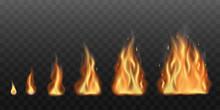 Realistic Fire Flames Set Vect...