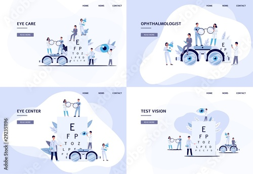Cuadros en Lienzo Set of web banner or page templates for ophthalmology flat vector illustration