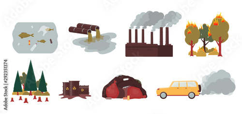 Environment pollution and ecology disaster set - isolated vector illustration Canvas