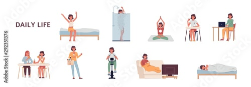 Fotografie, Tablou Daily life of a woman set - cartoon girl on her everyday routine