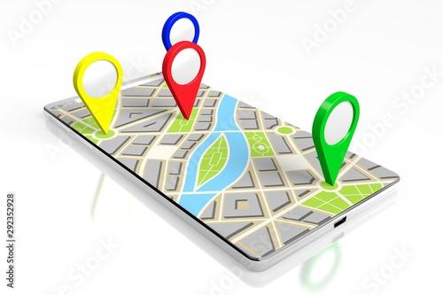 Fotografía  3D smartphone, map - destinations concept