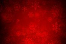 Christmas Snowflakes On Red Ba...