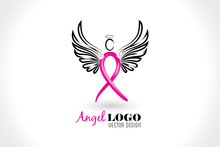 Angel Ribbon Cancer Symbol Log...