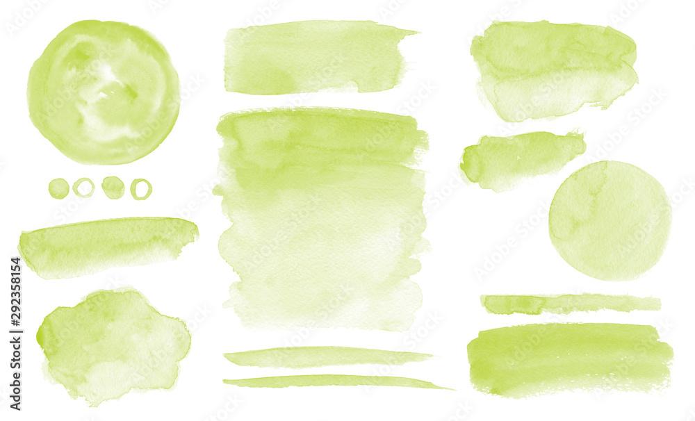 Fototapeta Olive green watercolor stains Set of brush strokes Invitation design