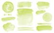Leinwandbild Motiv Olive green watercolor stains Set of brush strokes Invitation design