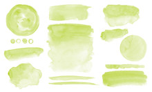 Olive Green Watercolor Stains Set Of Brush Strokes Invitation Design