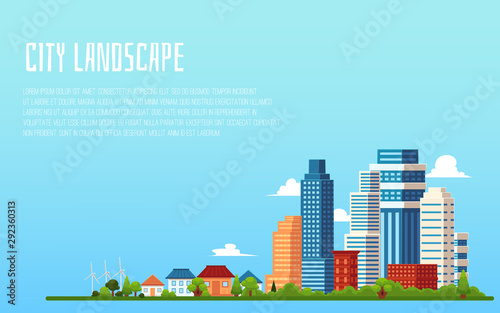 Tuinposter Lichtblauw City landscape banner with blank copy space - flat cartoon cityscape