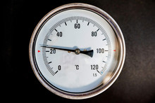 Close Up Image Of White Industrial Thermometer