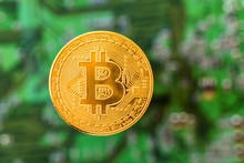 Golden Brand New Bitcoin On Green Digital Background