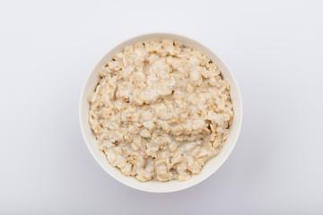 porridge oatmeal on white background NOT isolated