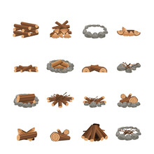 Set Of Various And Different Fireplace For Campfire And Bonfire.