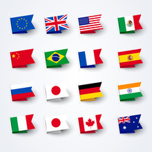 Vector Illustration Different Flags Of The World Set.