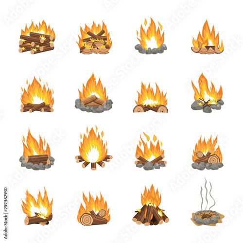 Canvas-taulu Set of cartoon bonfire variations - firewood stacking methods for campfire burn