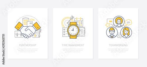 Cuadros en Lienzo Business management - line design style icons set