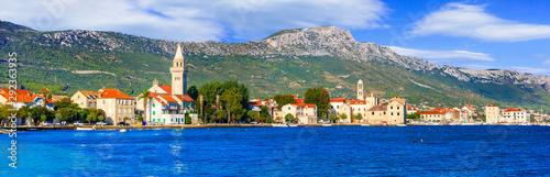 Beautiful coastal towns in Croatia. Scenic Kastella in Dalmatia. Kastel Stafilic village