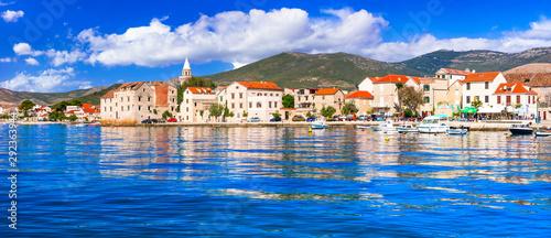 Idyllic coastal villages in Croatia. Scenic Kastella in Dalmatia. Kastel Novi village