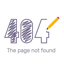 Vector Creative Template Of Found 404 Error Page Drawn By Pencil