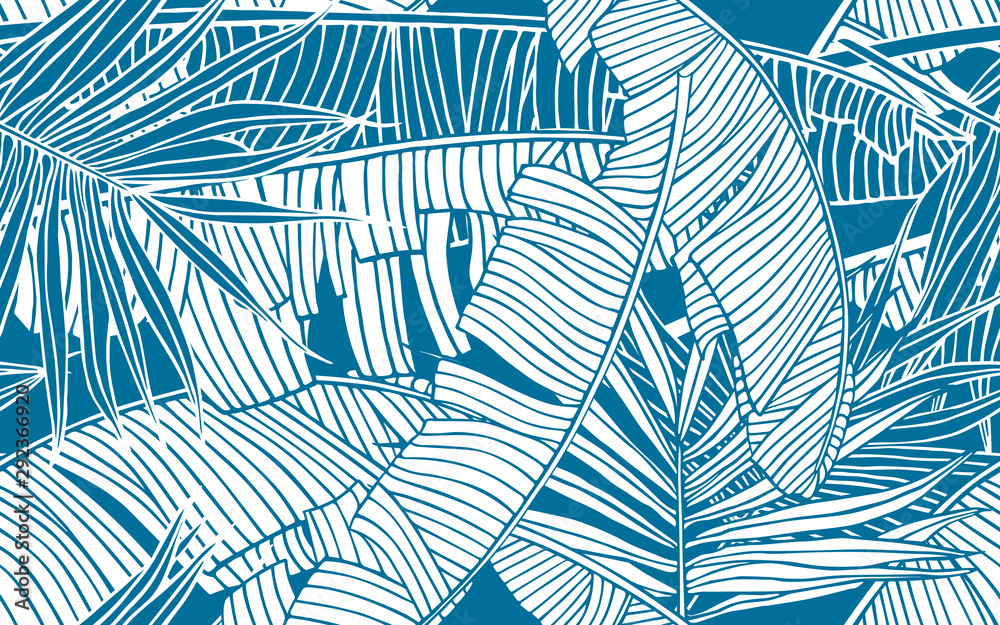 Fototapeta Tropical leaves pattern. Seamless texture with banana foliage and palm leaf. Design element, banner for tourism and travel industry, summer sale, print for fabrics and textile.