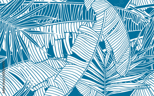Tropical leaves pattern. Seamless texture with banana foliage and palm leaf. Design element, banner for tourism and travel industry, summer sale, print for fabrics and textile.