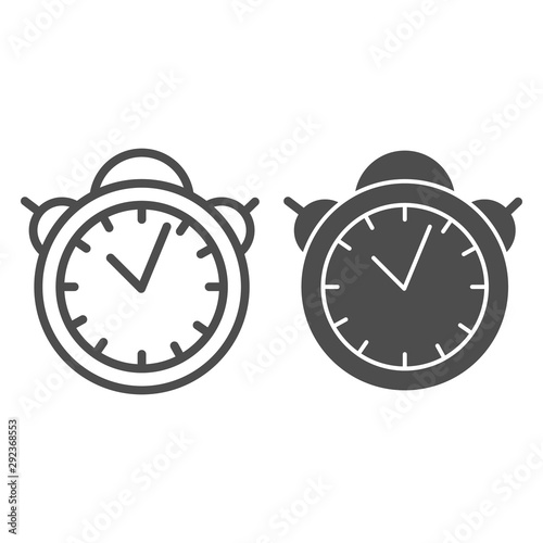 Alarm clock line and glyph icon. Table watch vector illustration isolated on white. Morning timer outline style design, designed for web and app. Eps 10. Fototapete