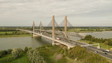 Martinus Nijhoff Bridge And Railway Bridge Aerial In The Netherlands