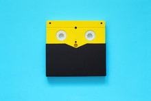 Yellow Video Tape On Color Bac...