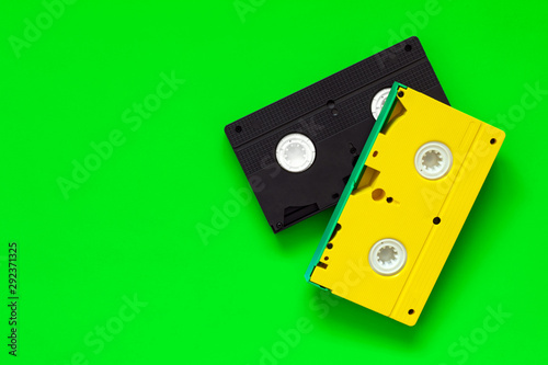 Video tapes on green background Fototapet