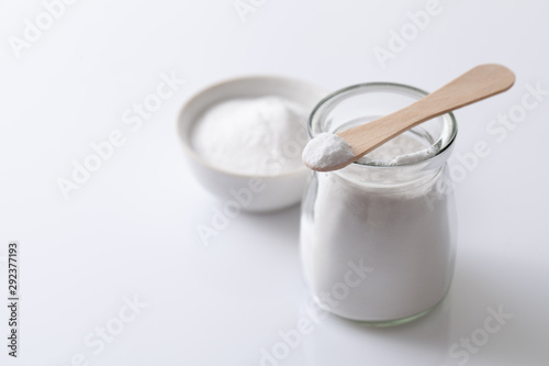 Photo Jar with artificial sweetener aspartame E951 is harmful to health