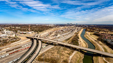 Aerial View Of Ft Worth Skyline And Highways And Train Tracks