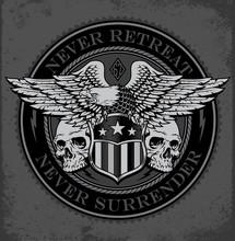 Eagle On Shield With Skulls Em...