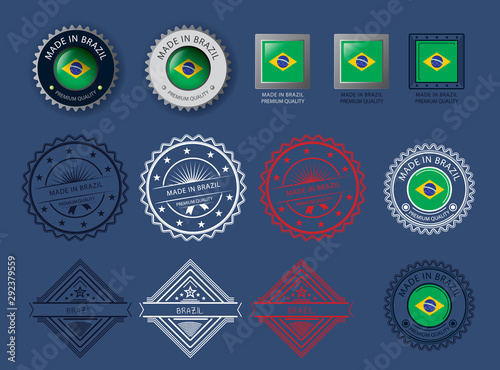 Made in Brazil seal, Brazilian flag and color  --Vector Art-- Wallpaper Mural