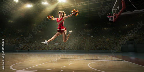 Fotomural A cheerleader in action on the professional stadium
