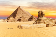The Sphinx And The Pyramids Of Giza, Wonders Of The World In Egypt, Sunset View