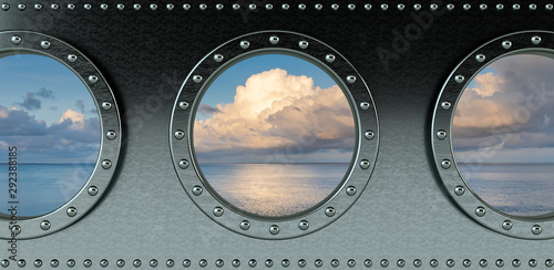 Fotografia ship portholes - looking onto the ocean - 3d rendering