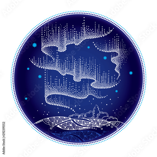 Tablou Canvas Round composition with Aurora borealis lights in dotwork style on the night background for arctic space or galaxy design