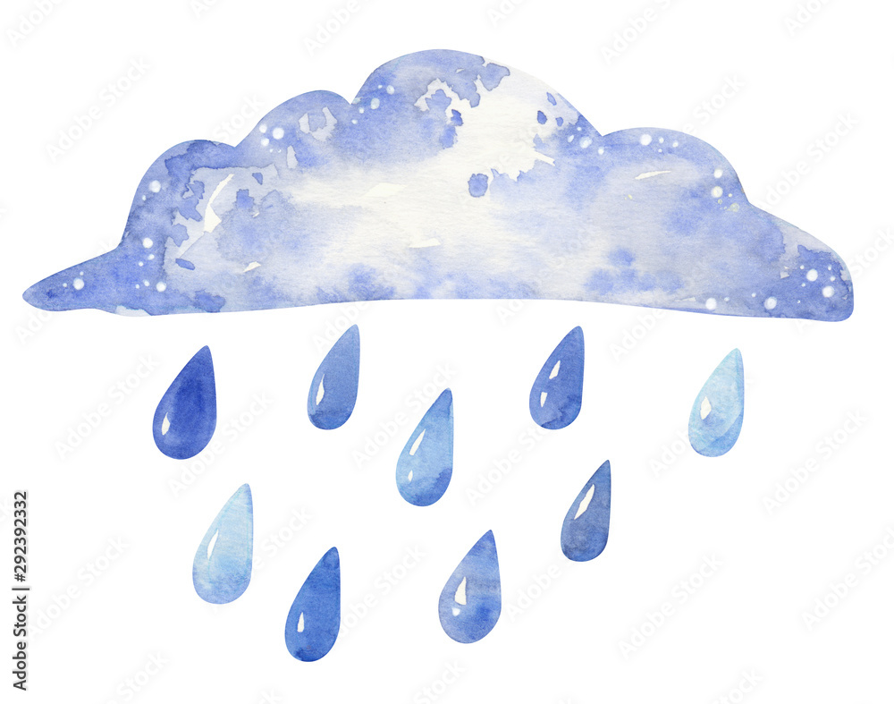 Fototapeta Cloud with raindrops, hand drawn watercolor illustration isolated on white.