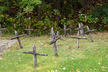 Wooden Crosses Marking The Sit...
