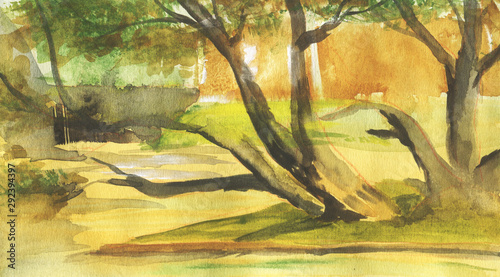 Poster Melon Abstract landscape with trees and lake. Watercolor illustration in sketch style