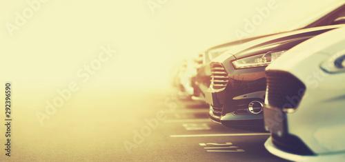 Fototapeta luxury cars on dealership parking in selective focus obraz