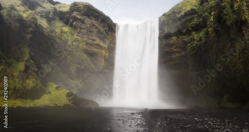 Photo sur Toile Cascades Panoramic View of Skogafoss Waterfall, Iceland