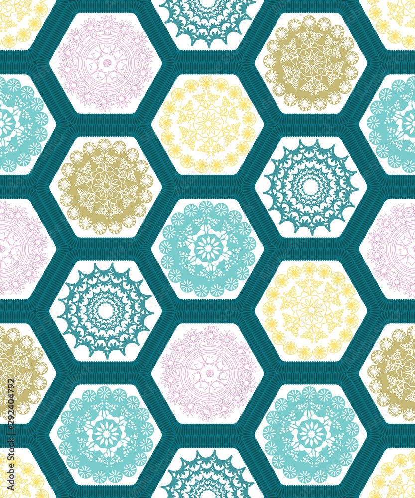 Creative hexagon doily crochet patchwork seamless pattern background design.Vector illustration.